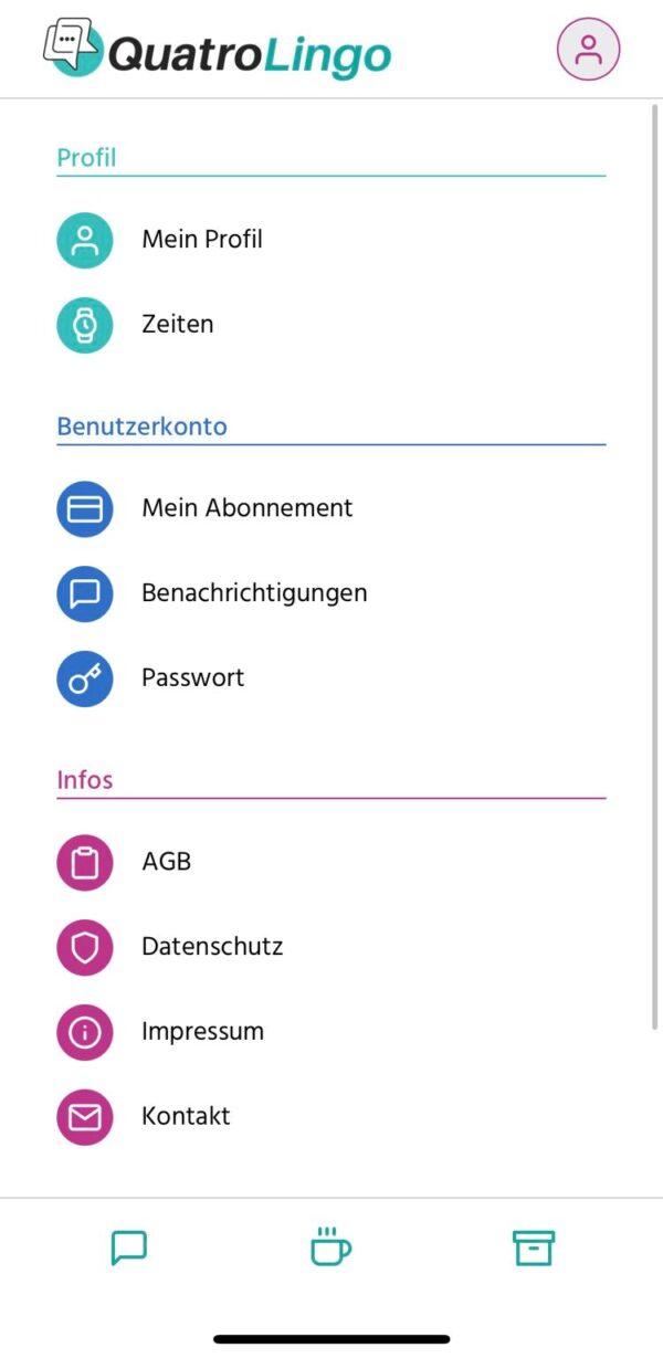 QuatroLingo-App_Menü